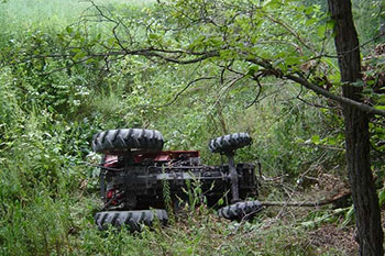 A tractor on its side